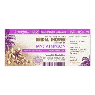 purple boarding pass tickets for Bridal Shower Invitations