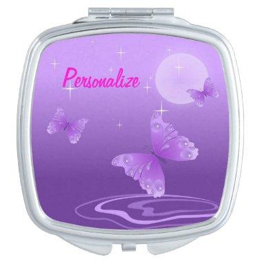 """Purple Butterfly"" Compact Mirror"