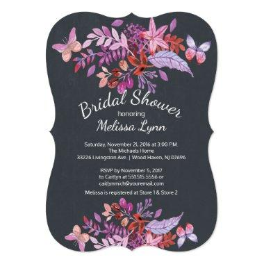 Purple Butterfly Floral Fall Bridal Shower Invitations