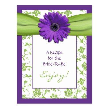 Purple Daisy Green Floral Bridal Shower Recipe PostInvitations