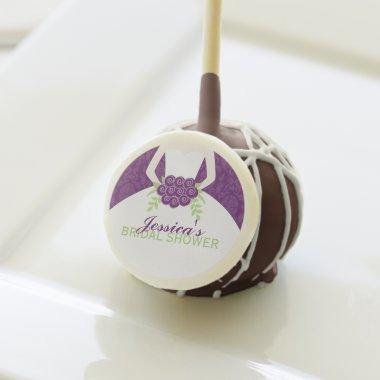 Purple Damask Bridal Shower Cake Pops