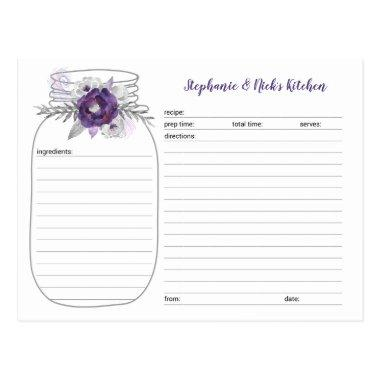 Purple Floral Mason Jar Bridal Shower Recipe Invitations