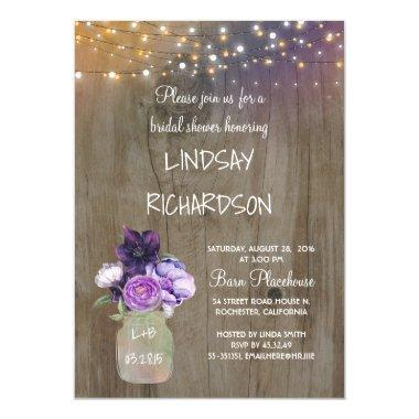 Purple Floral Mason Jar Rustic Barn Bridal Shower Invitations