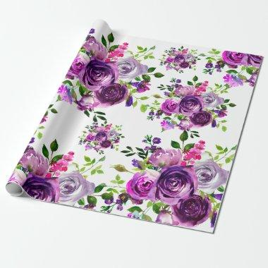 Purple Floral Wedding Wrapping Paper
