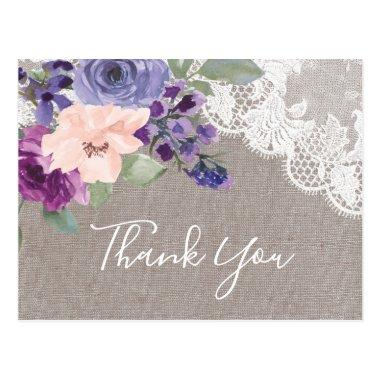 Purple Flowers and Lace Thank You Post