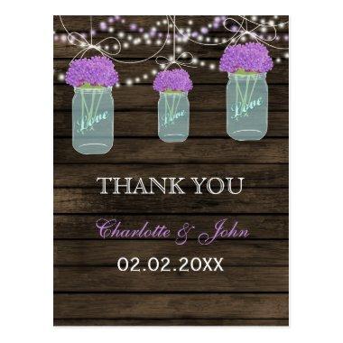 Purple Flowers Mason Jars Barn Wood Wedding Post