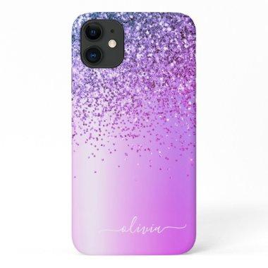 Purple Glitter Monogram Name Luxury Girly iPhone 11 Case