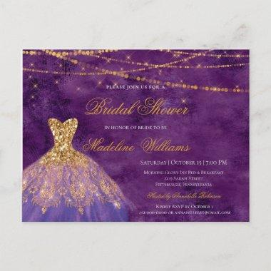 Purple & Gold Glitter Elegant Bridal Shower Invitation PostInvitations