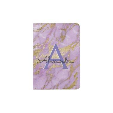 Purple Gold Marble Girly Monogram Name Passport Holder