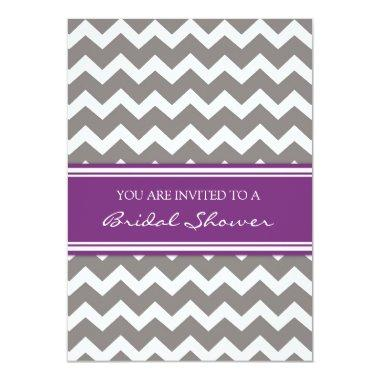 Purple Gray Chevron  Invitation