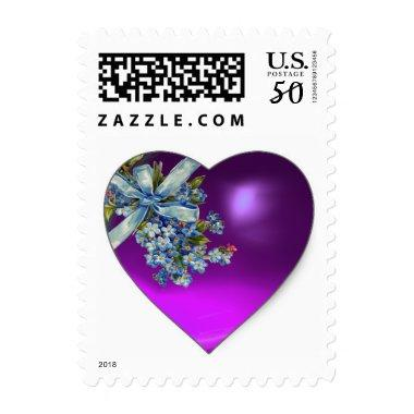 PURPLE HEART,BLUE BOW AND FLOWERS WEDDING PARTY POSTAGE