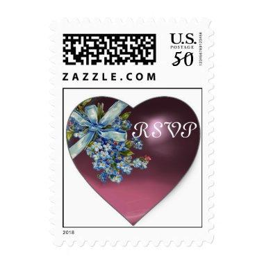 PURPLE HEART & FORGET ME NOTS WEDDING PARTY RSVP POSTAGE