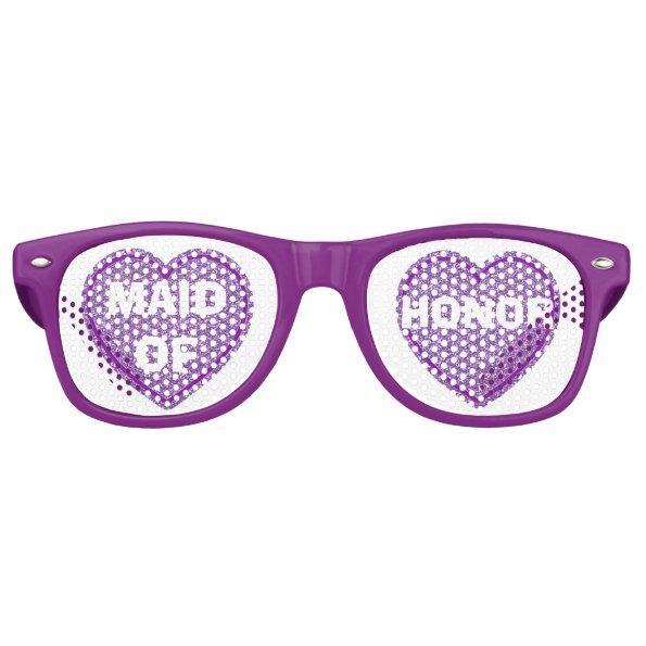 Purple Hearts Maid of Honor Party Eye Glasses Wayfarer Sunglasses