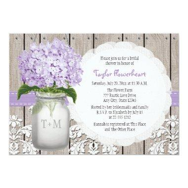 Purple Hydrangea Monogram Mason Jar Bridal Shower Invitations