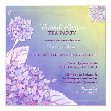 Purple Hydrangeas Bridal Shower Tea Party Invitations