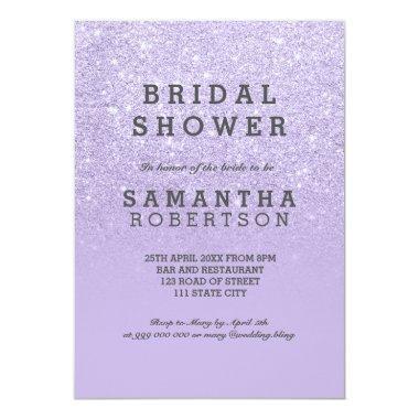 Purple lavender faux glitter bridal shower Invitations