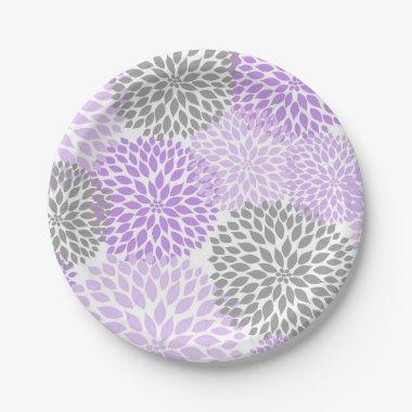 Purple Lavender Gray Dahlia Baby Shower / Bridal Paper Plate