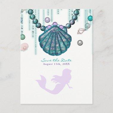 Purple Mermaid Beach Bling Save the Date Party Announcement PostInvitations