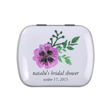 Purple Pansy Custom Bridal Shower Candy Favor Candy Tin
