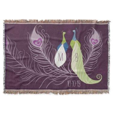 Purple Peacocks Pair Wedding Anniversary Custom Throw Blanket