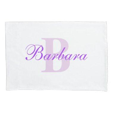 Purple Personalized Monogram Custom Pillow Case