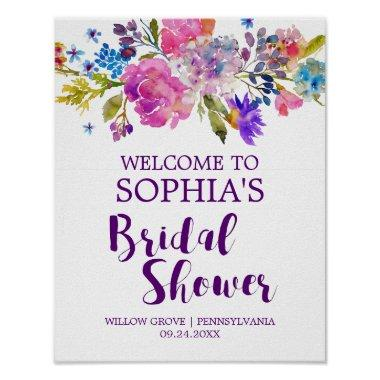 Purple Pink and Blue Flowers  Welcome Poster