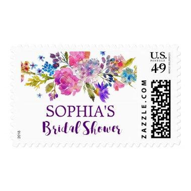 Purple Pink & Blue Watercolor Flower  Postage