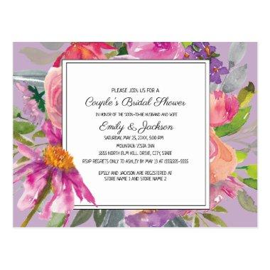 Purple Pink Floral Couple's Bridal Shower PostInvitations