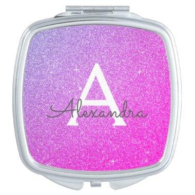 Purple - Pink Glitter and Sparkle Monogram Compact Mirror