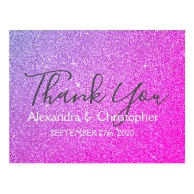 Purple Pink Glitter and Sparkle Thank You PostInvitations