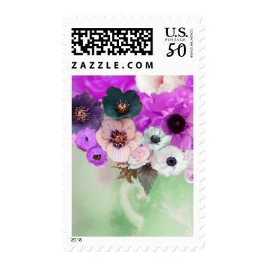 PURPLE PINK ROSES AND ANEMONE FLOWERS IN GREEN POSTAGE