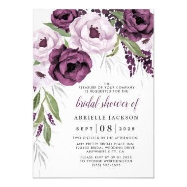 Purple Plum and Gray Silver Elegant Bridal Shower Invitations