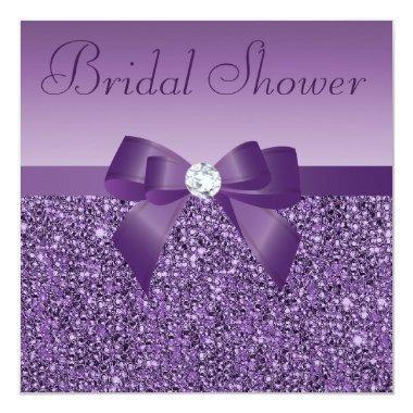 Purple Printed Sequins Bow & Diamond Bridal Shower Invitations