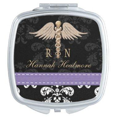 PURPLE REGISTERED NURSE RN CADUCEUS MIRROR FOR MAKEUP