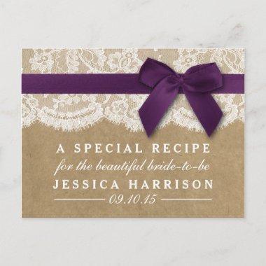 Purple Ribbon On Kraft & Lace  Recipe Invitation Post