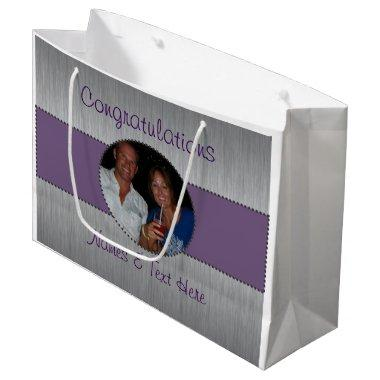 Purple & Silver Custom Picture Gift Bag