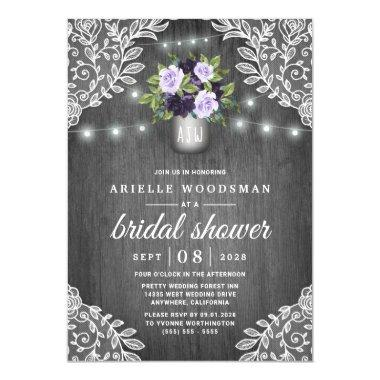 Purple Silver Gray Floral Rustic Bridal Shower Invitations
