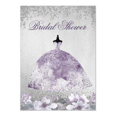 Purple Silver Sparkle Dress Bridal Shower Invite