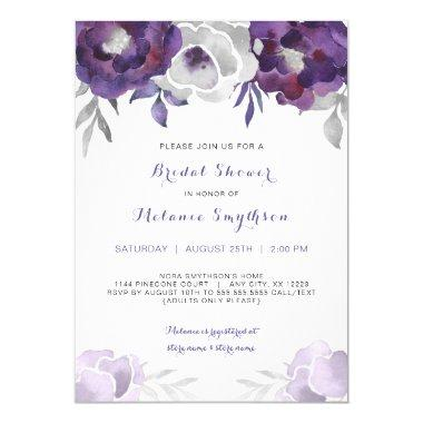 Purple Silver Watercolor Floral bridal shower 3963 Invitations