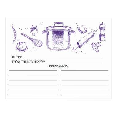 Purple Sketched Kitchen Tools Recipe