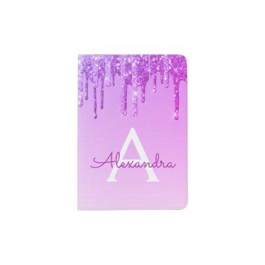 Purple Sparkle Glitter Monogram Name Passport Holder