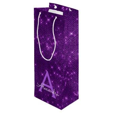 Purple Sparkle Monogram - Add Your Name Wine Gift Bag