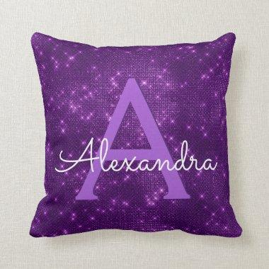 Purple Sparkle Shimmer Monogram Name & Initial Throw Pillow