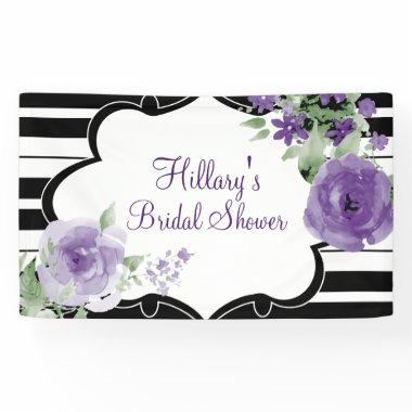 Purple, Stripes, Flowers,  Banner