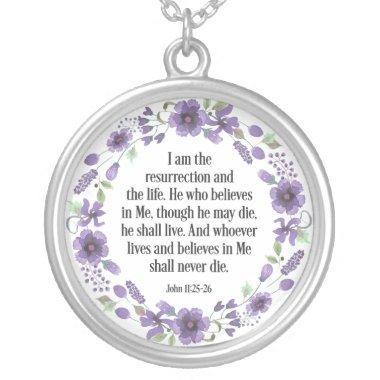Purple Vintage Floral Bible Life Quote Necklace