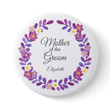 Purple / Violet Floral Wreath Mother of Groom Button