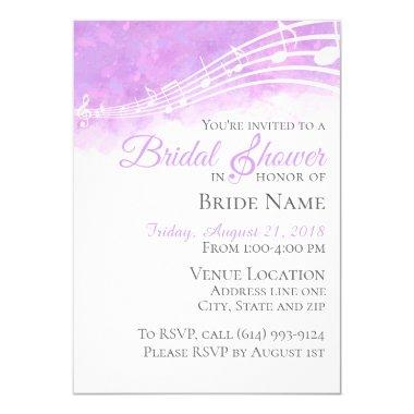 Purple Watercolor Musical Bridal Shower Invitations