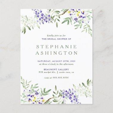 Purple Watercolor Wisteria Bridal Shower Invitation PostInvitations