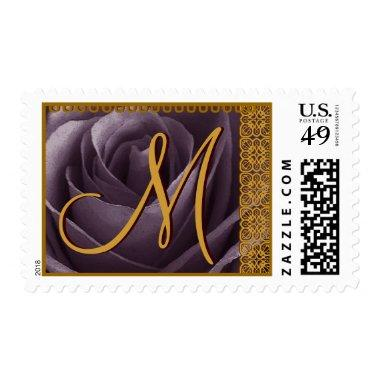 PURPLE Wedding Monogram Rose with GOLD Lace Postage