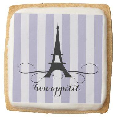 Purple Whimsical Paris Eiffel Tower  Square Shortbread Cookie